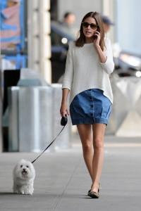 girl in a denim skirt