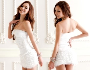 white slinky dress