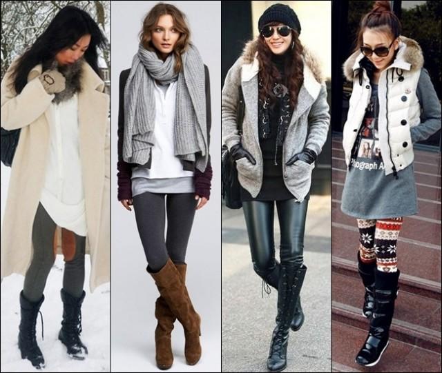 с чем одеть легинсы зимой