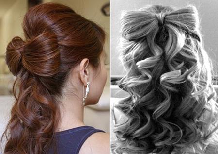 Прическа с бантом с волос