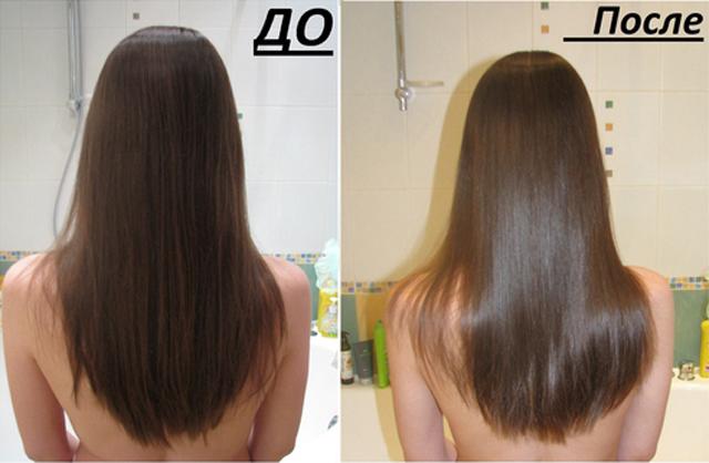 ламинирование волос желатином, до и после