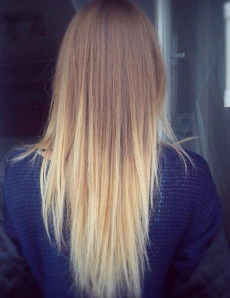 омбре на длинные русые волосы фото