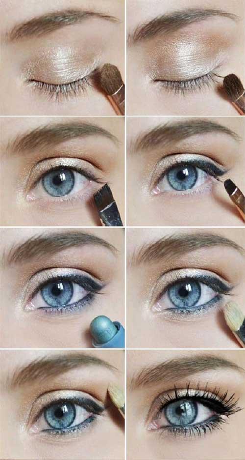 как правильно красить голубые глаза