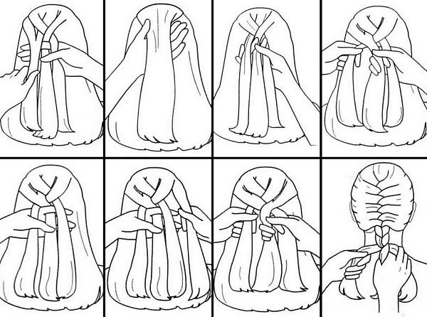 схема плетения косички дракон фото