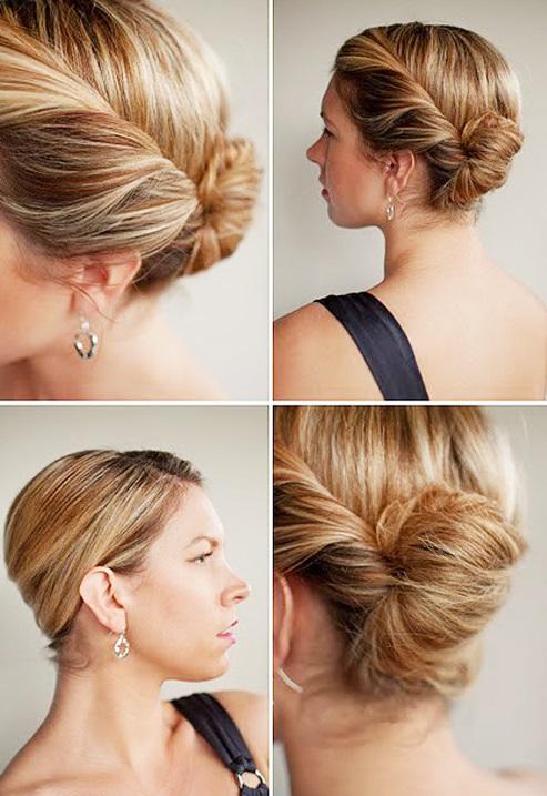 низкий пучок на короткие волосы фото инструкция
