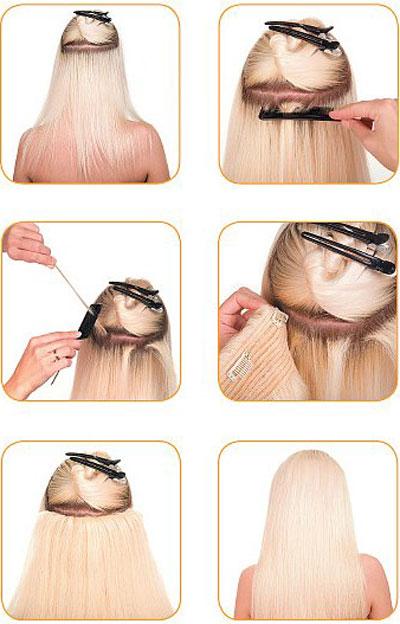 как крепить натуральные волосы на заколках