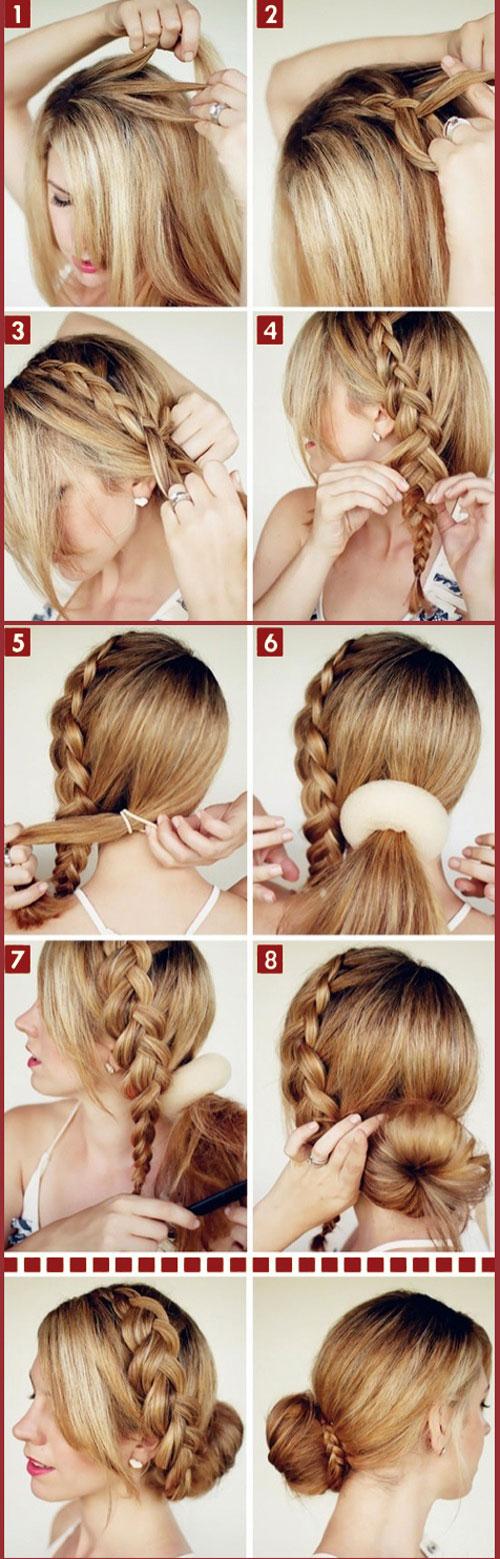 греческая косичка на средние волосы