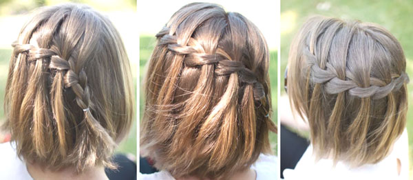 французские косички водопад на короткие волосы