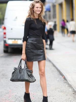 с чем носить кожаную юбку фото 10